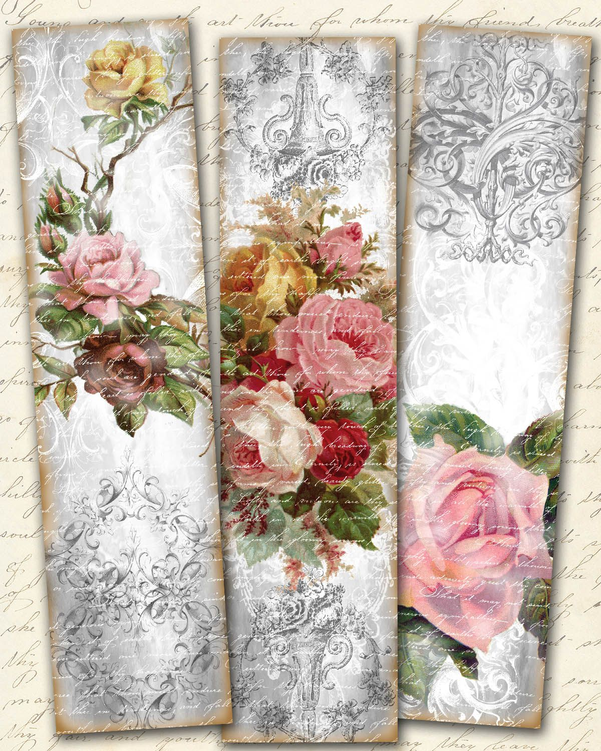 Shabby chic roses bookmarks vintage roses strips shabby - Manualidades shabby chic ...