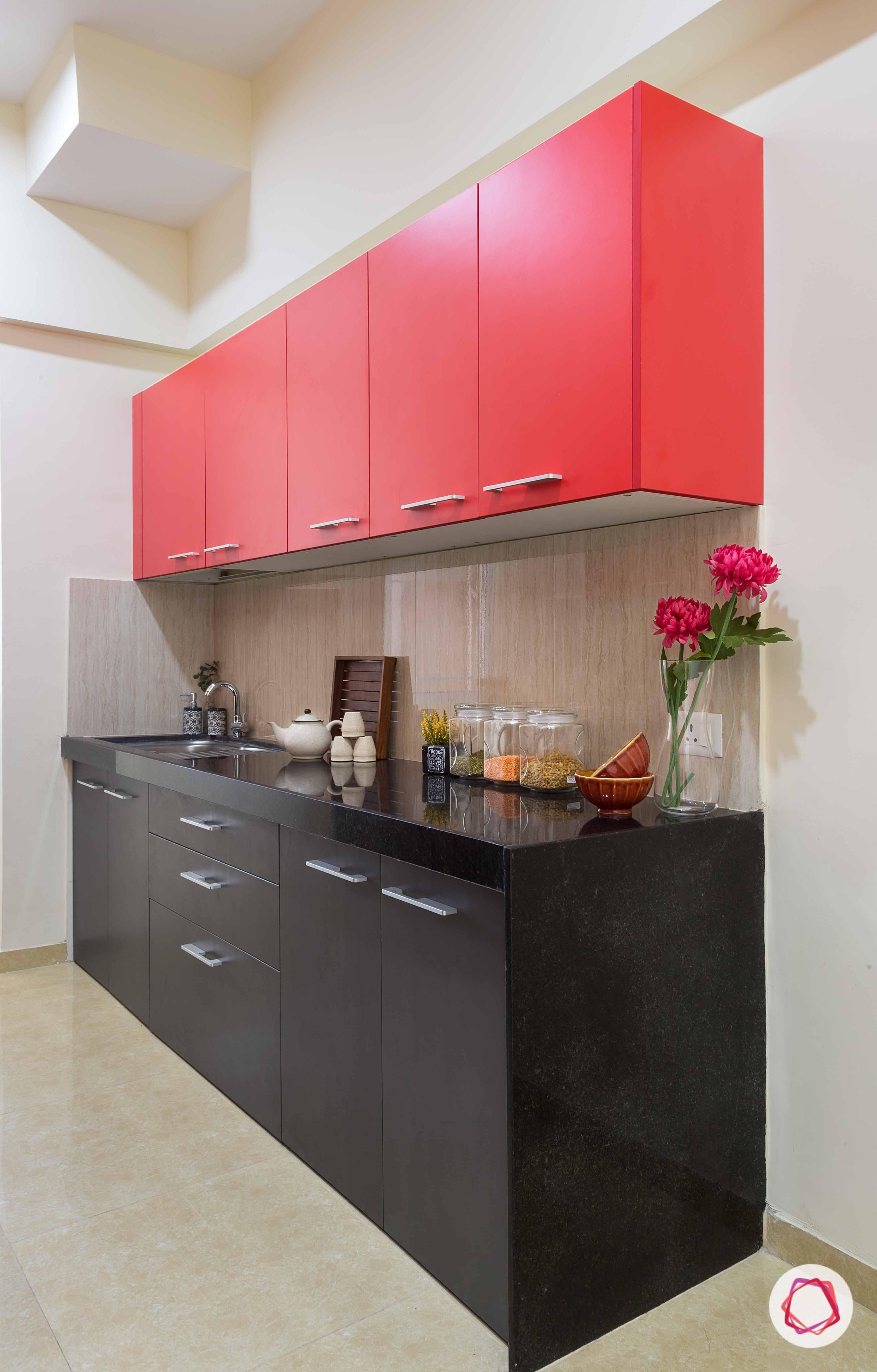 Modular Kitchen In Pop Colors Black Red And A Beige Backsplash To