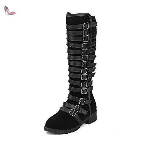 VogueZone009 Femme Haut Élevé Couleur Unie Zip Rond à Talon Bas Bottes, Noir, 42 - Chaussures voguezone009 (*Partner-Link)