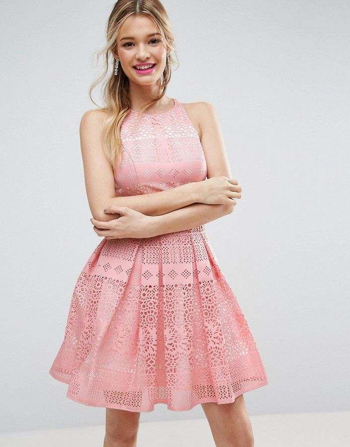 ASOS SALON Laser Cut Mini Prom Dress (Ad) | Prom Dresses | Pinterest ...
