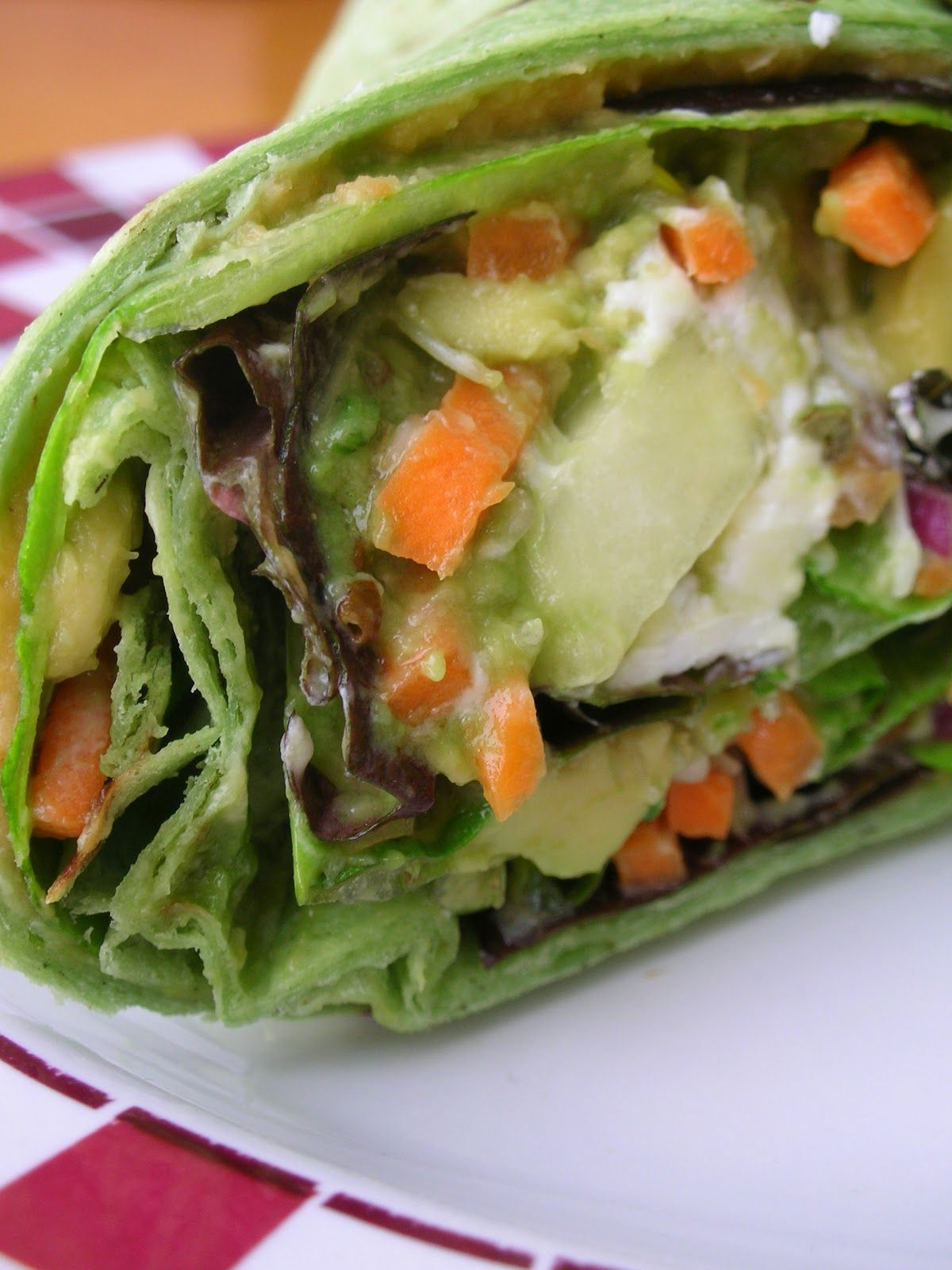 Veggie Wraps with Hummus and Goat Cheese.