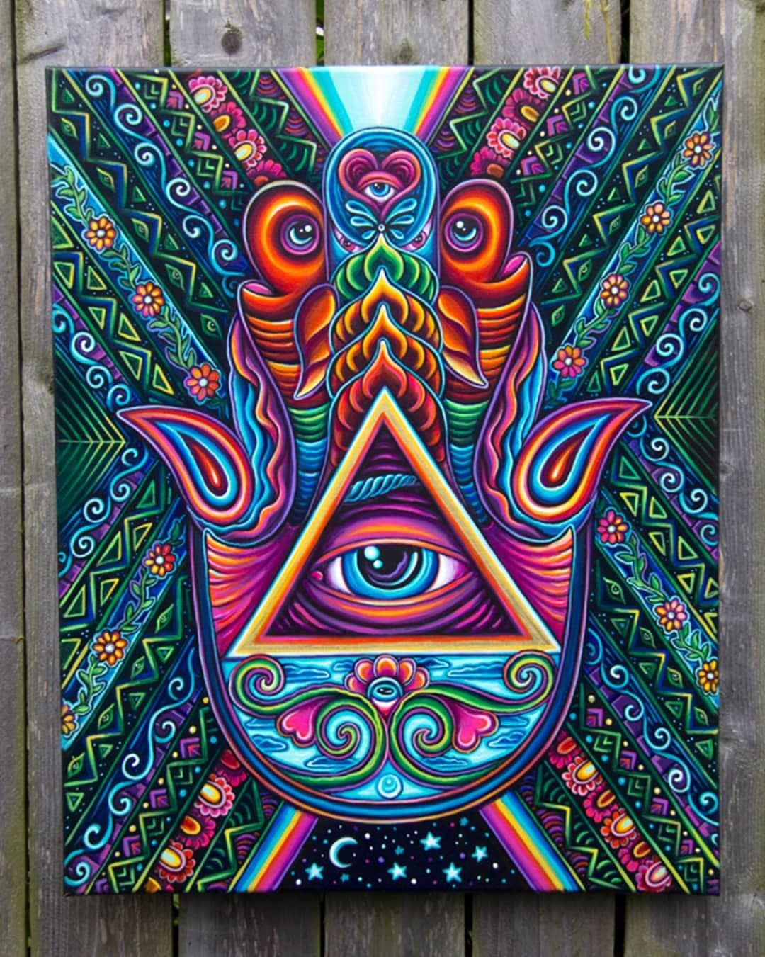Original Psychedelic Hand Print Acrylic Painting