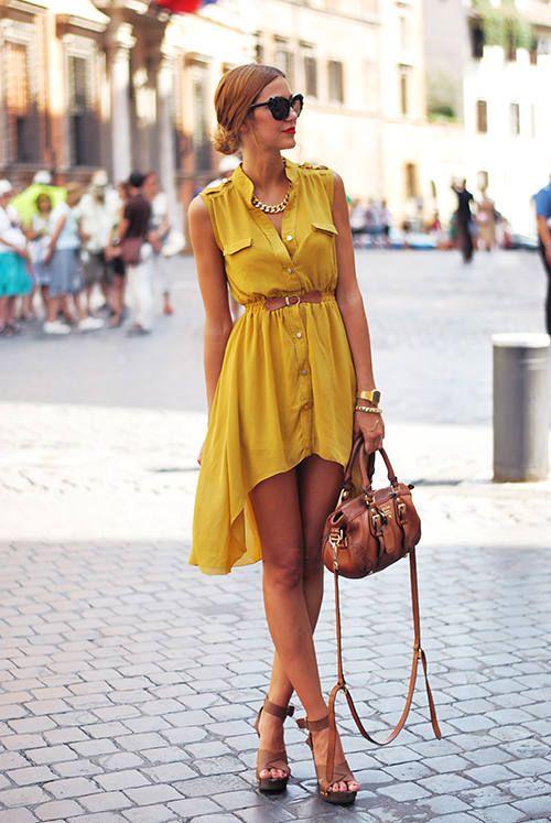 vestido color mostaza y accesorios color mani  f876b7a15f9f