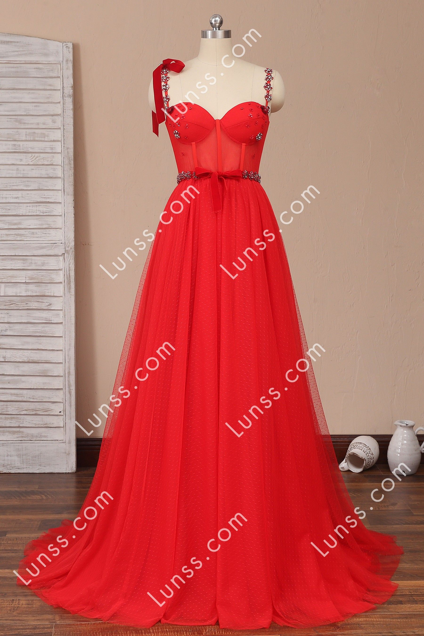 This Red Prom Dress Features Illusion Corset Bodice With Pretty Hand Sewn Diamond Decorating The Sweetheart Neckline And In 2021 Tulle Prom Dress Prom Dresses Dresses [ 2700 x 1800 Pixel ]