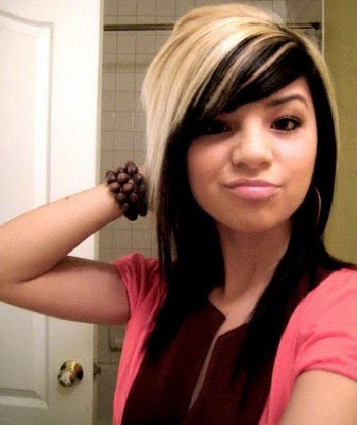 Blonde hair with black underneath pictures cute long emo haircut with side swept bangs hair black and blonde highlight for young women pmusecretfo Images