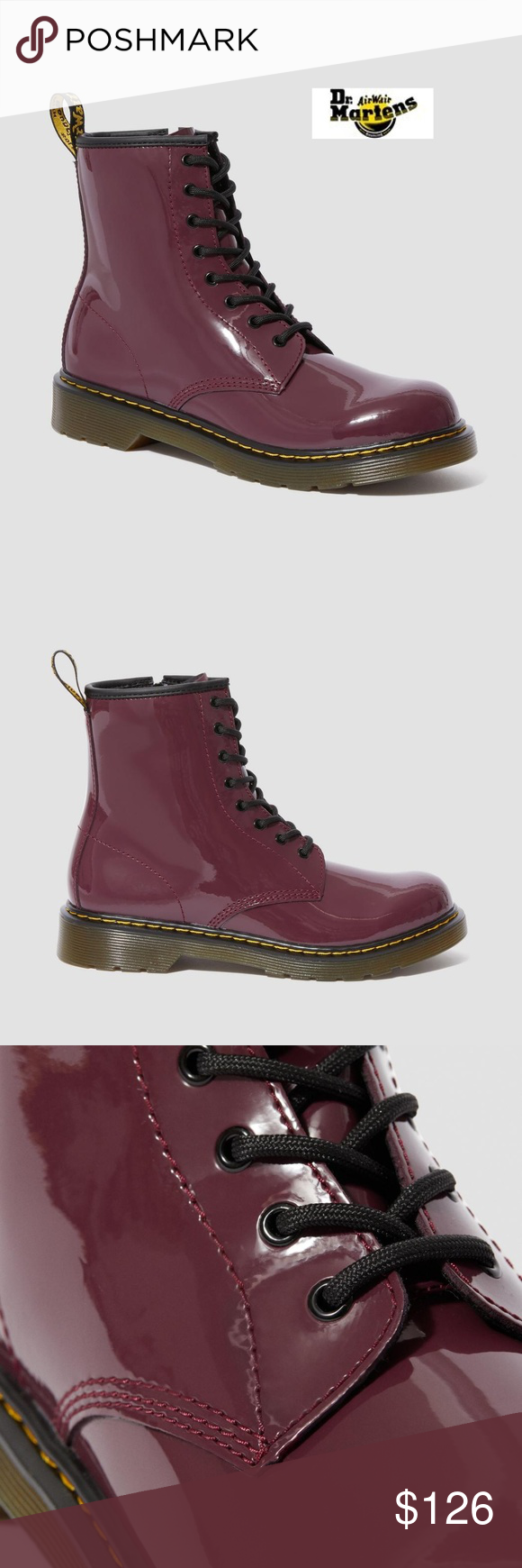 Dr Martens 1460 Plum Patent Lamper Nwt Boots Martens Bootie Boots