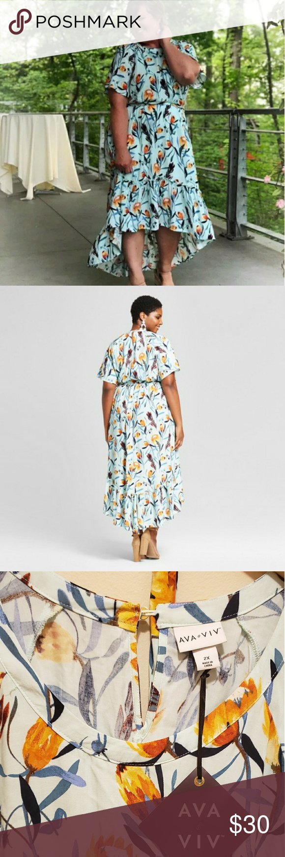 Ava Viv 2x Target Blue High Low Floral Dress Floral High Low Dress Dresses Floral Dress [ 1740 x 580 Pixel ]