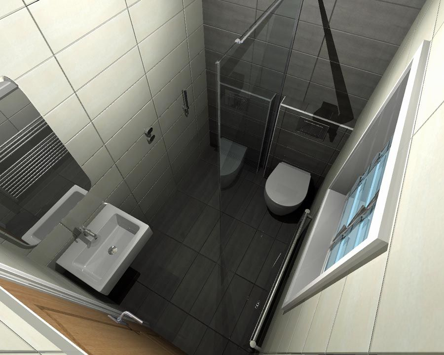 A concept for a small wetroom with space saving toilet and basin designed with virtual worlds by Ensuite bathroom design layout