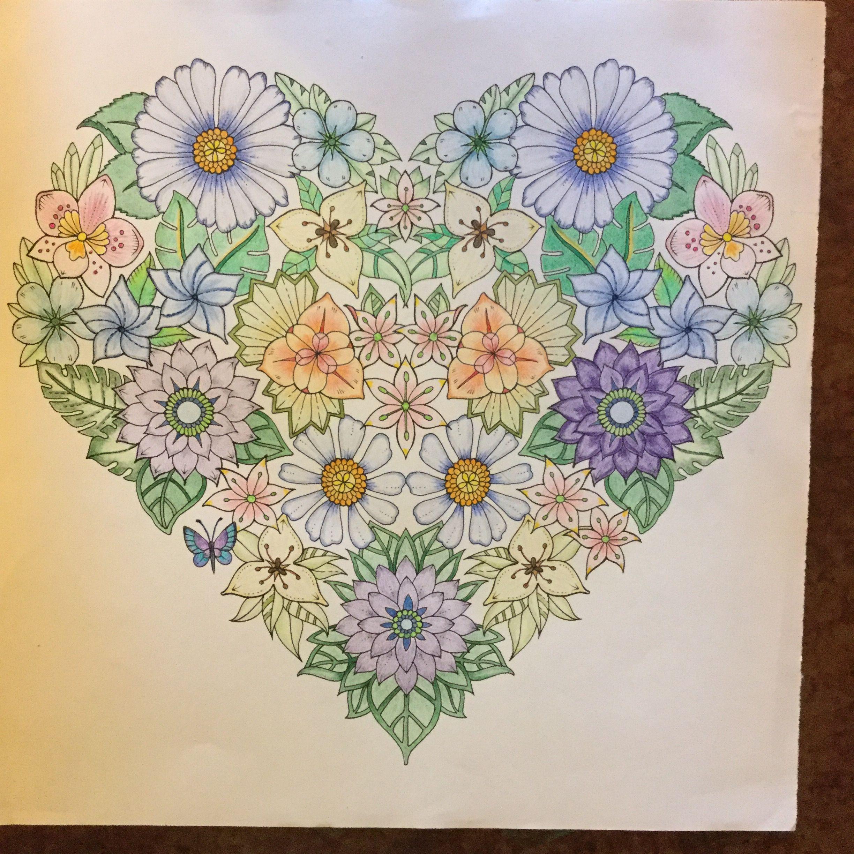 flower heart mandala from johanna basford magical jungle finished