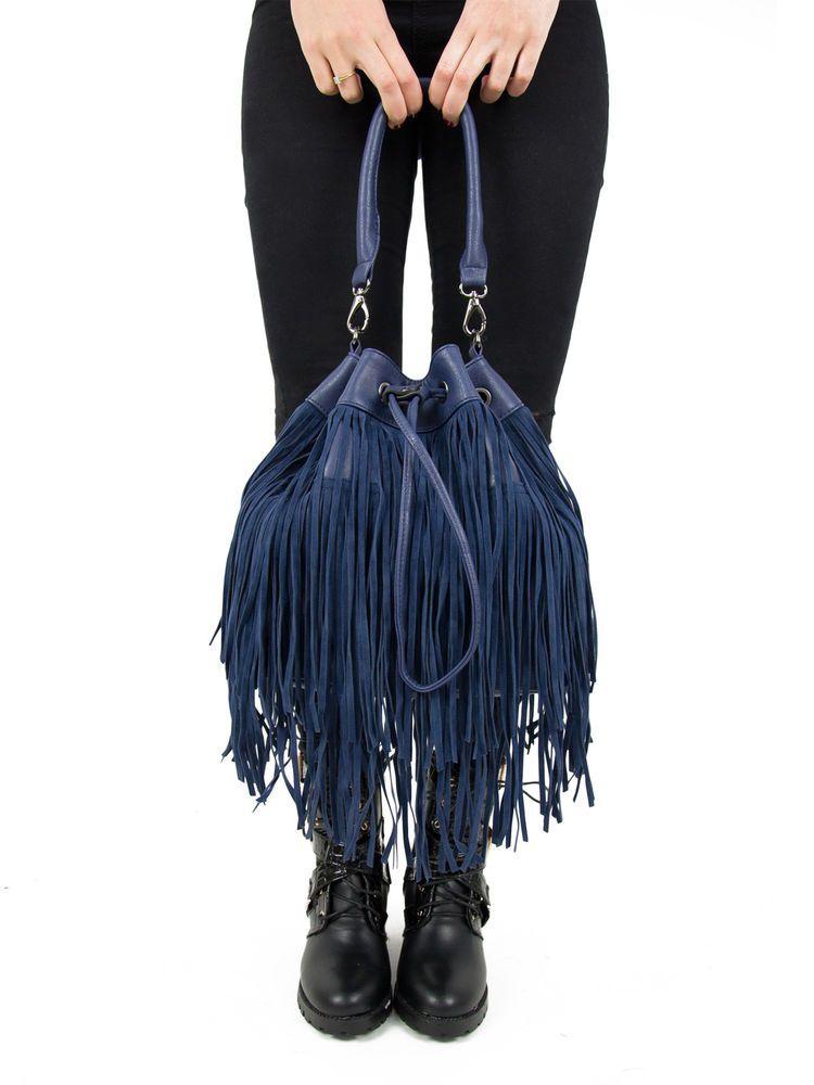 Womens Retro Suede Tassels Look Fringe Messanger Bag Shoulder Handbag Blue