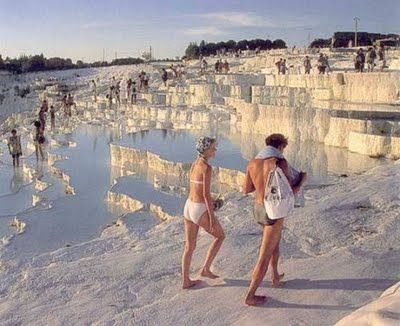 (Turkey) Pamukkale is one of the natural wonders of the world. It is a unique geological formation formed over 14.000 years. The spring water at Pamukkale has therapeutic qualities and since antiquity has been said to cure rheumatism, kidney and heart diseases.