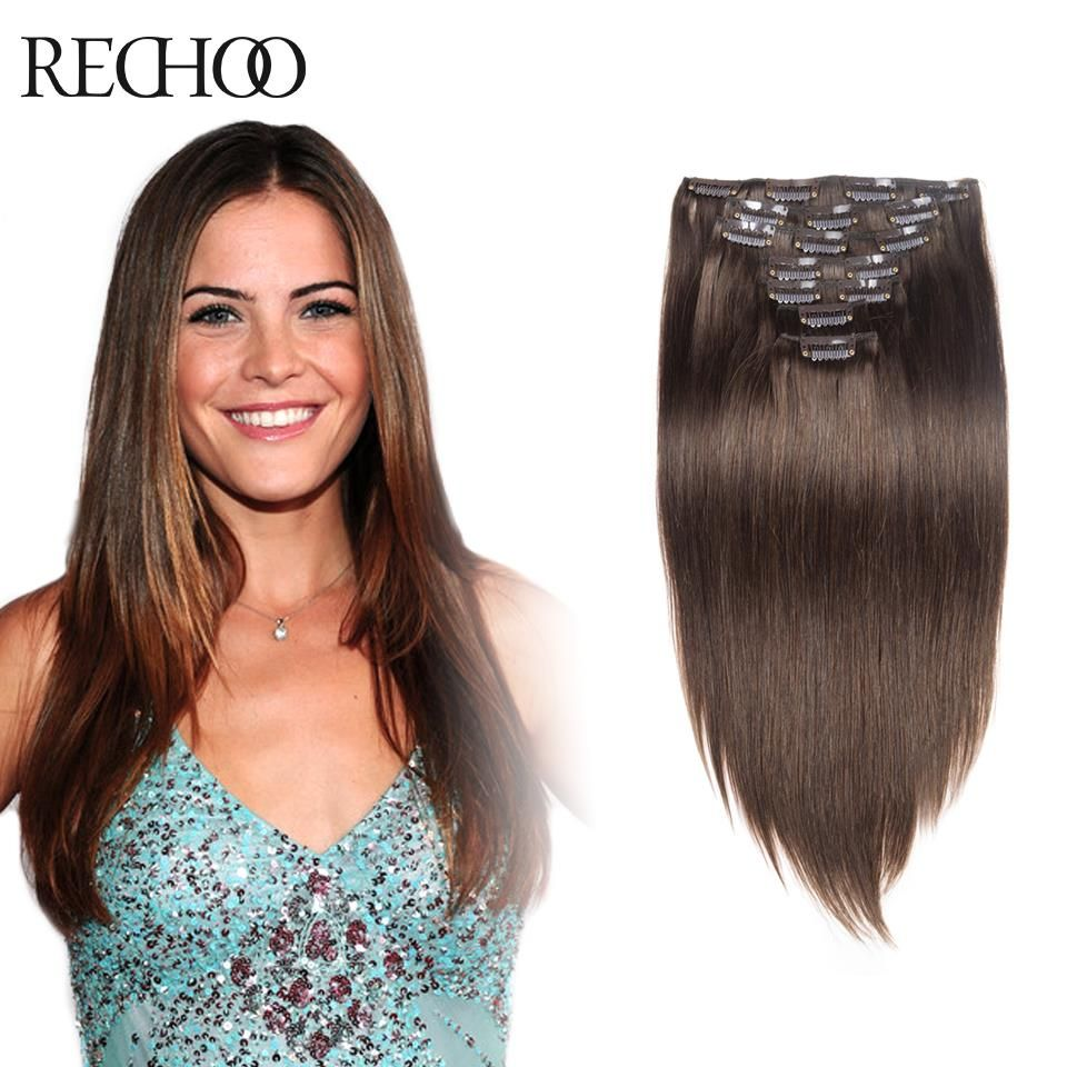 pcs remy clip in human hair extensions medium brown in