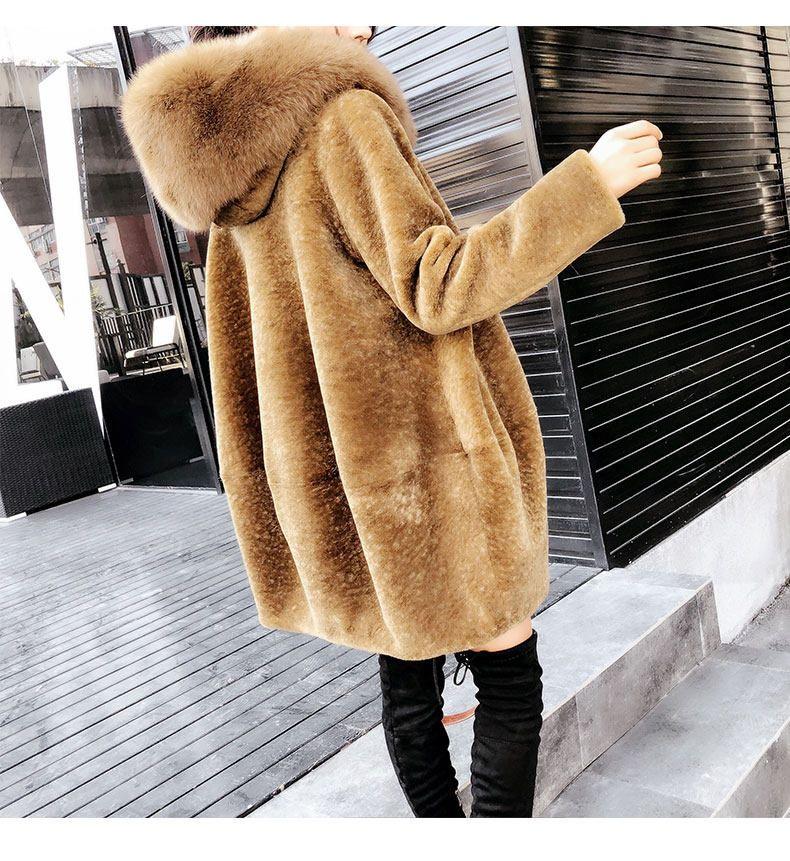 Luks Yeni Varis 2018 Kadin Kis Yun Ceket Ile Bir Buyuk Fox Kurk Hood Sapka Kadin Streetwear Giyim Deve Arti Boyutu Xxl 2xl Manto Streetwear Kapusonlu