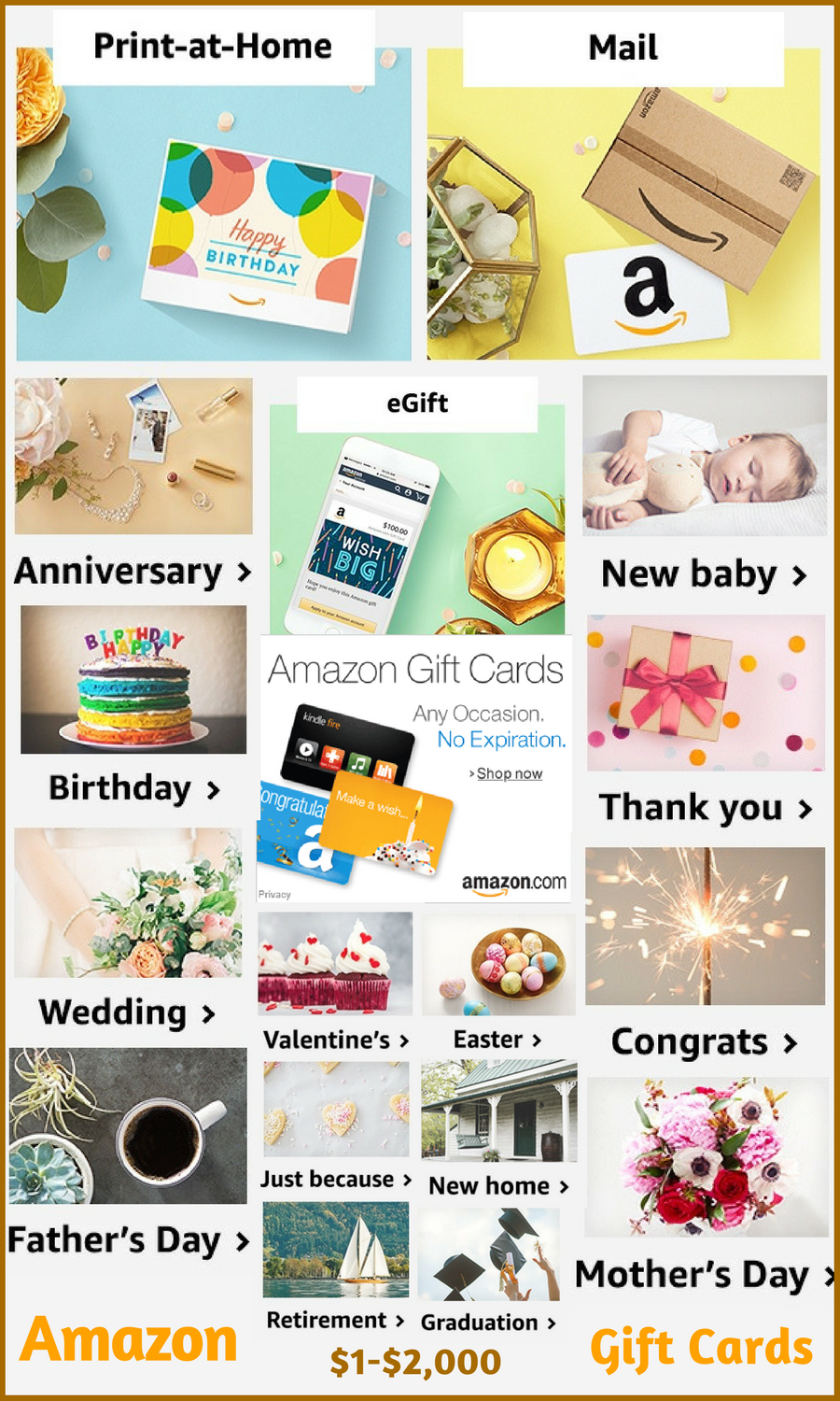 Shop Amazon Gift Cards Any Occasion No Expiration 1 2 000 Birthday Anniversary Retirement New Baby Graduation Thank Gifts Gift Card Amazon Gift Cards