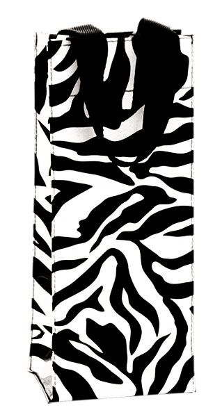 A zebra wine bottle bag