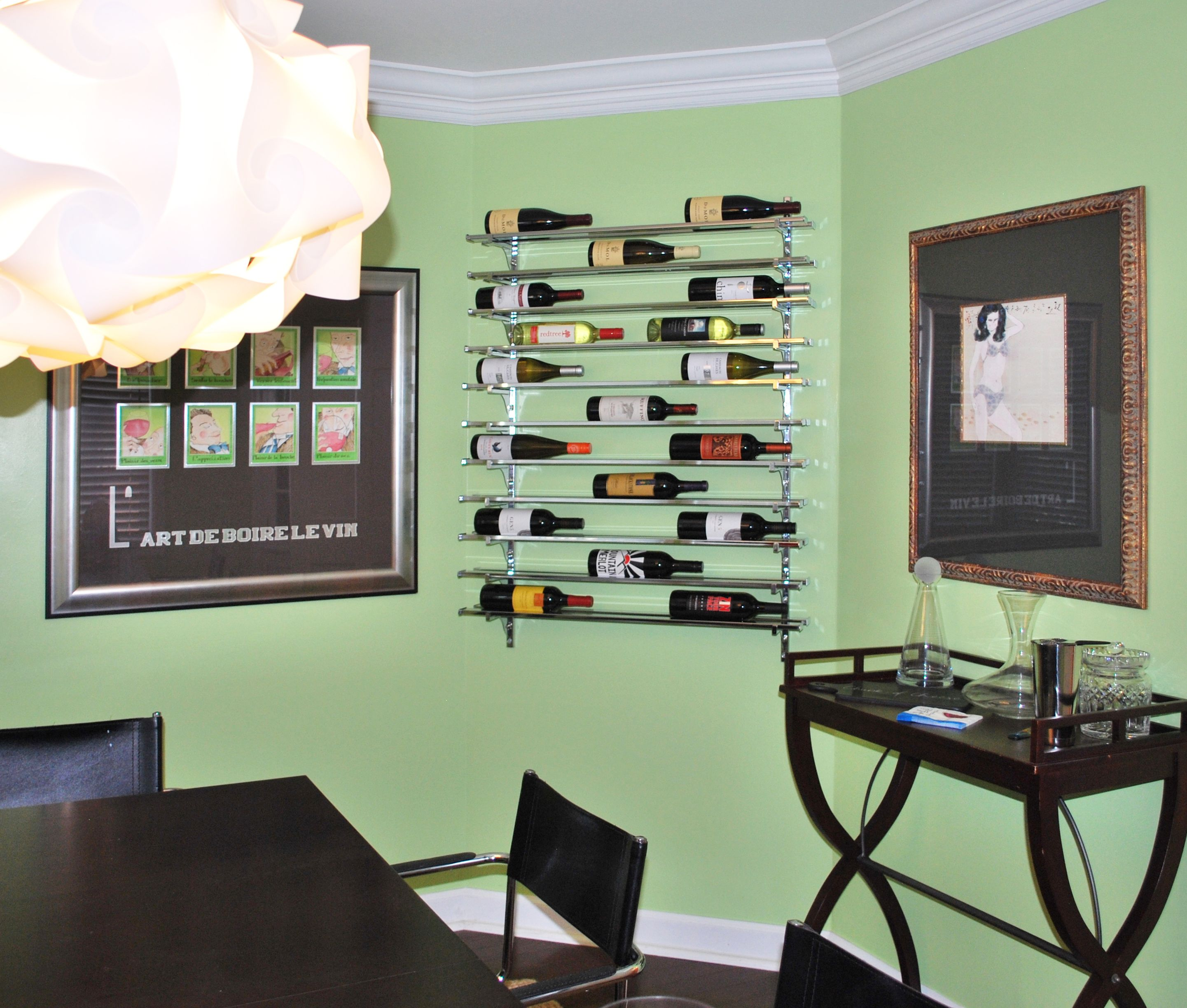 Marvelous Wine Rack In Living Room Part - 1: Small Metal Wine Rack In Living Room Mounted To The Wall For Wine Storage  And Display