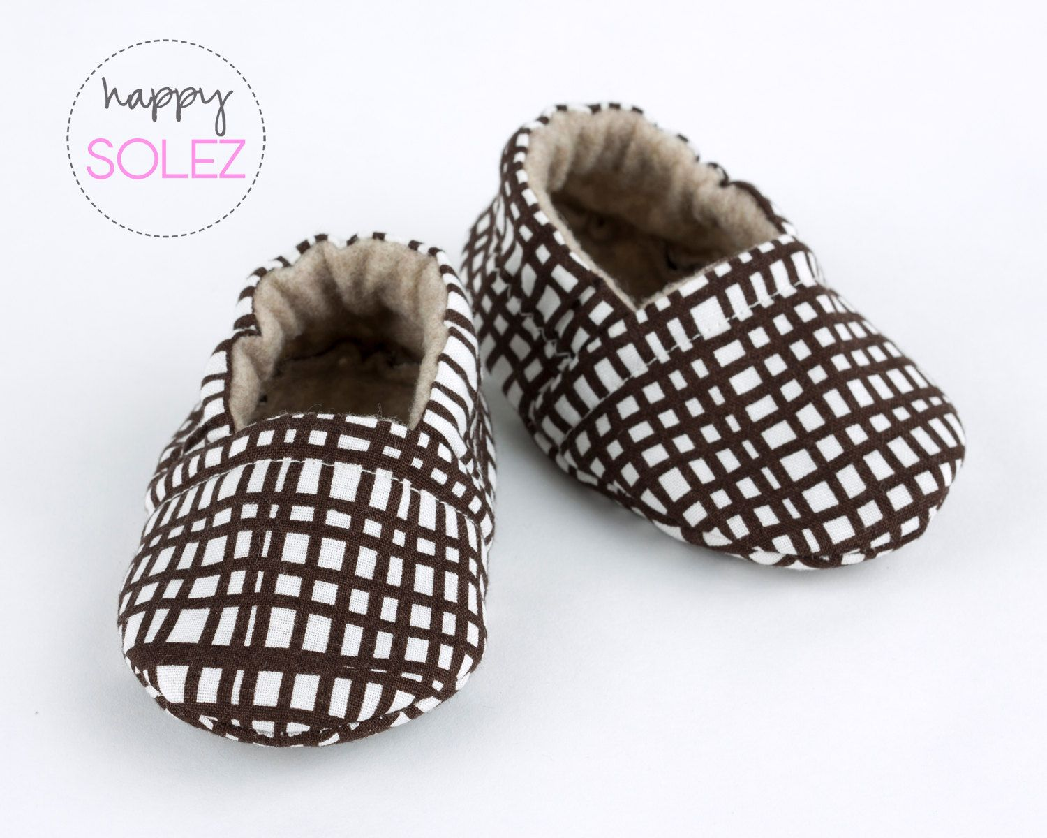 Brown Grid Eco Friendly Baby Booties, Crib Shoes, Soft Sole ...