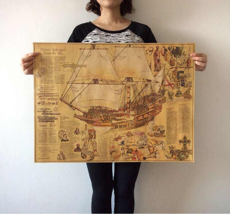 Barato Grande Mapa Do Mundo Vintage Cartaz Navios Mercantes E Tesouros Antigos Mapas Retro Arte Cafe BarVintage