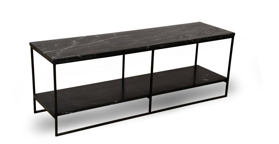 meuble tv marbre et metal noir nv