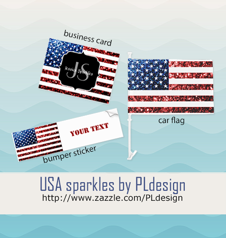 Usa flag red blue sparkles bumper sticker business card and car flag by pldesign