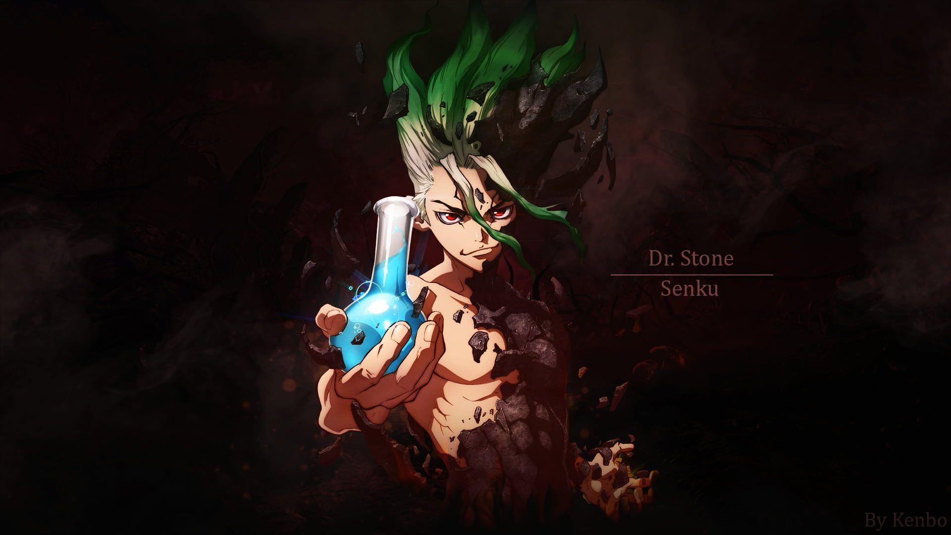 Dr Stone Senkuu Ishigami Anime Anime Boys Anime Men Flask Science Scientists Science Fiction Experiments Green Green Hai Anime Wallpaper Anime Anime Boy