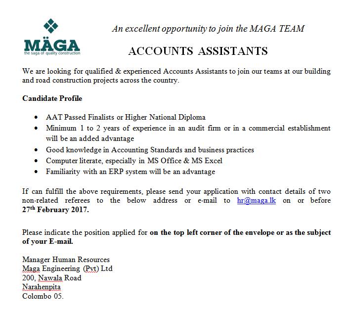 Accounts Assistants At Maga Engineering Pvt Ltd  Career First
