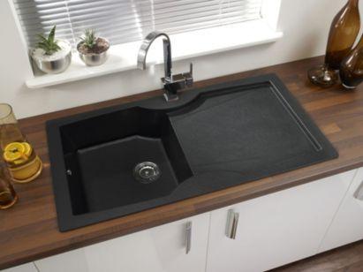 Glass Bathroom Sinks B&Q cooke & lewis veneto black single bowl sink, 0000004076148