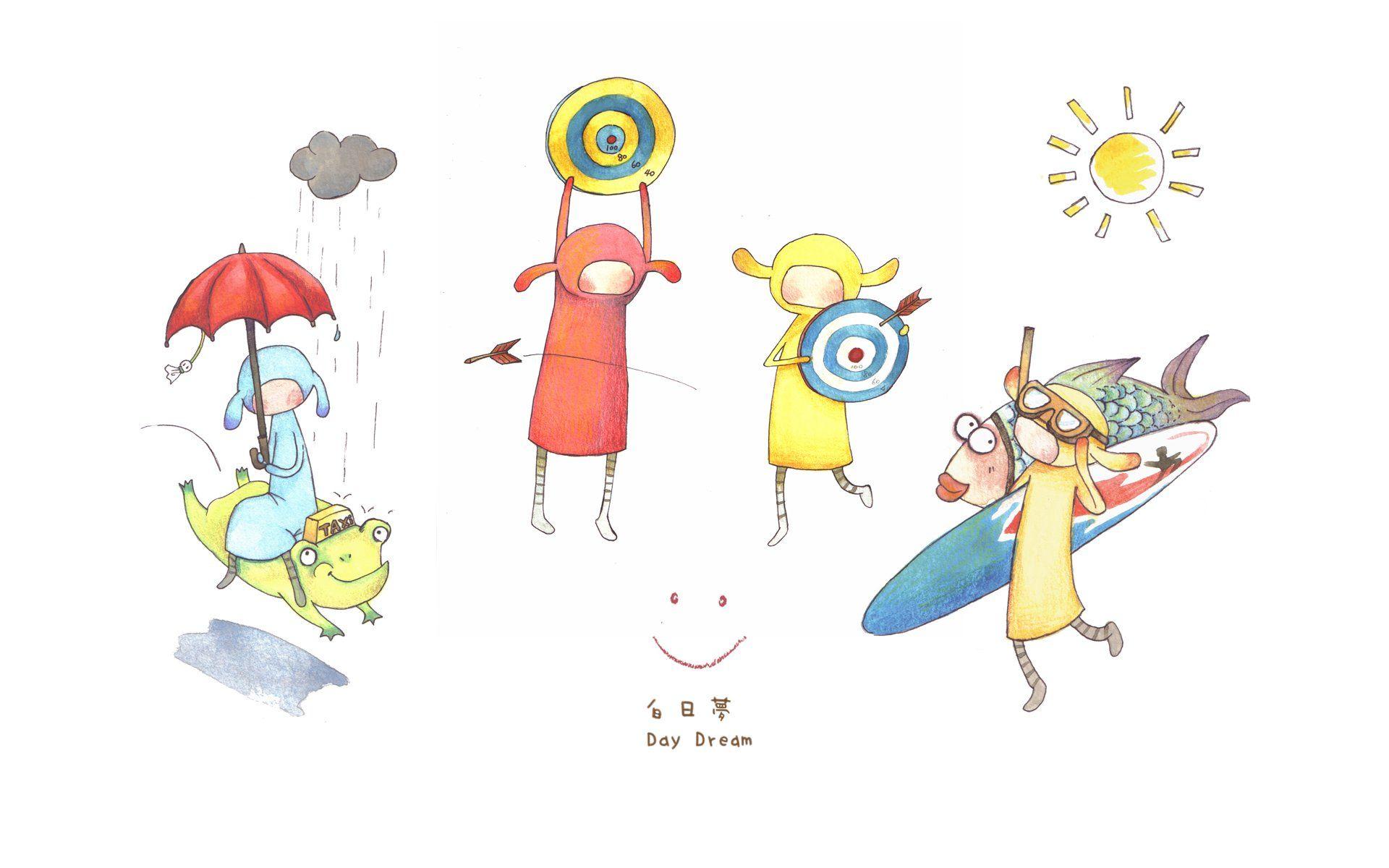 台湾插画家黄匀弦插画壁纸 白日梦 Character Wallpaper Cartoon