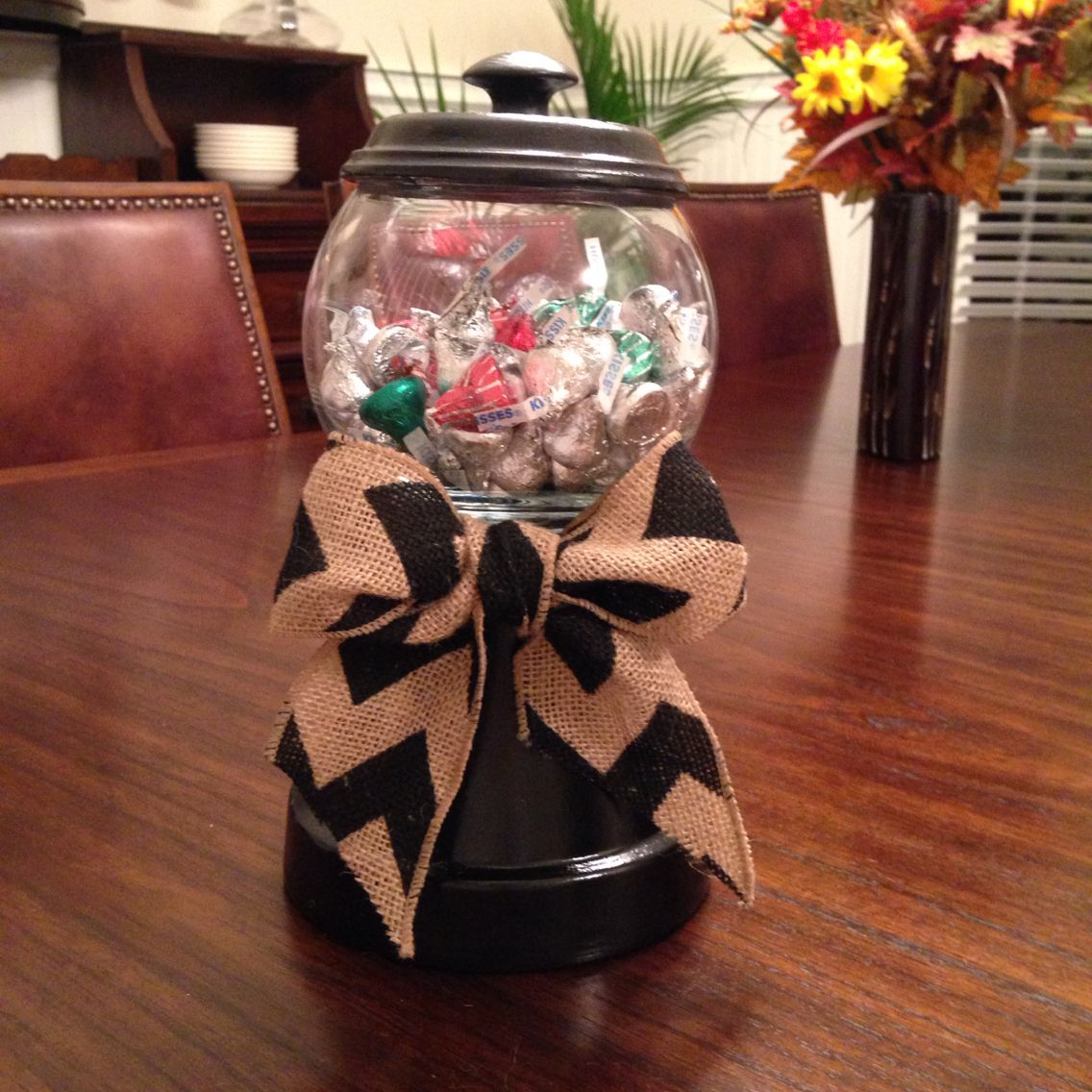 Candy jar made out of a pot and a fish bowl holidays pinterest