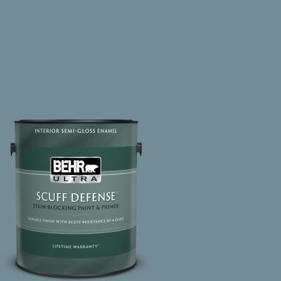 Behr Ultra 1 Gal Qe 54 Shaker Blue Extra Durable Semi Gloss Enamel Interior Paint Primer 375401 The Home Depot
