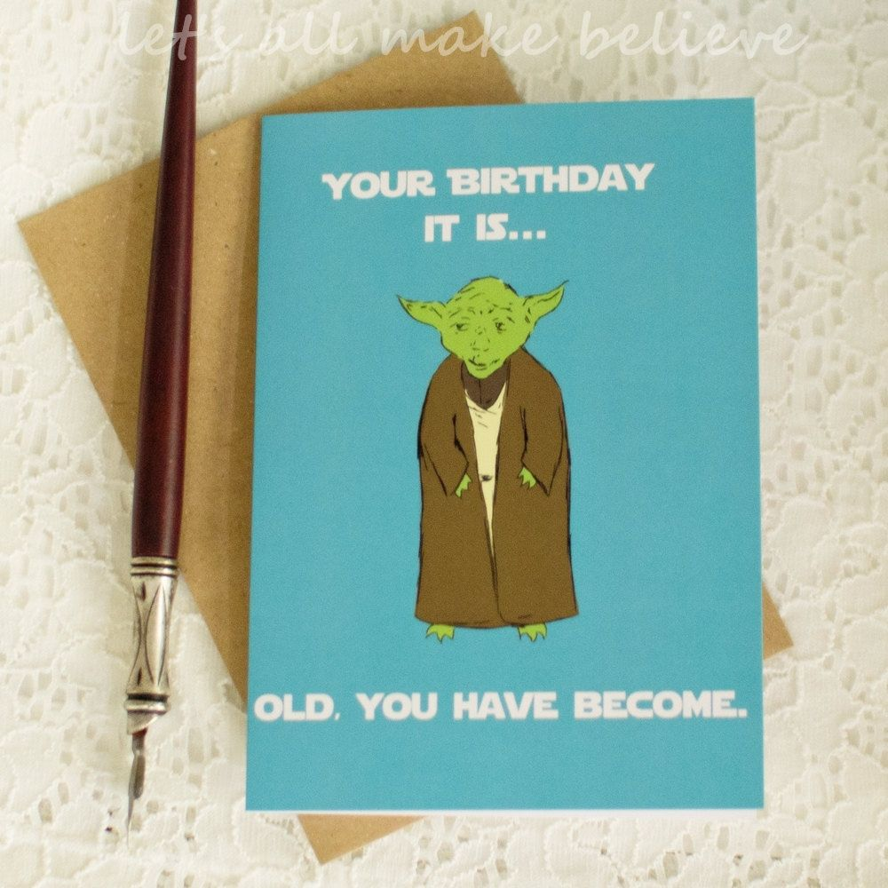 Star Wars Yoda Inspired Card Nerd Birthday Blank Greeting Card Green