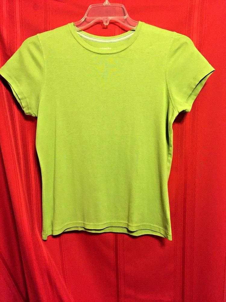 St. John's Bay Casual Top Solid Green Size M Cotton Short Sl. Scoop Neck  #StJohnsBay #KnitTop #Casual