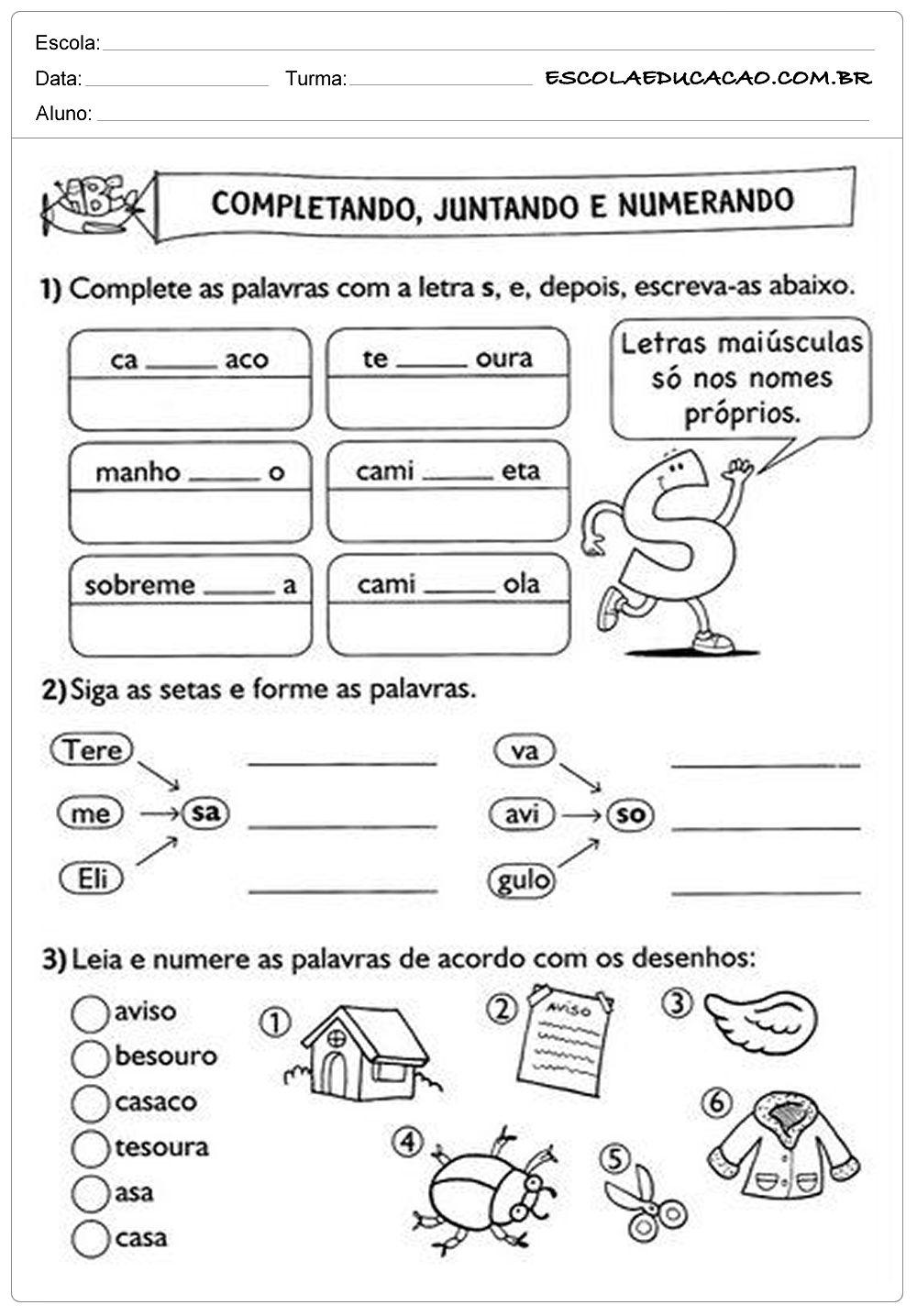 Well-known Atividades de Português 2º ano - Completando, Juntando e numerando  QU42