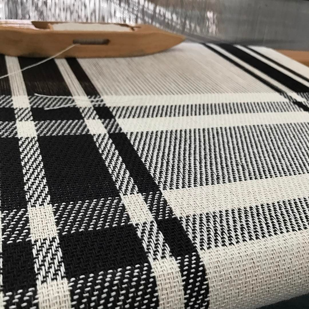Last run of kitchen towels for #craftboston2017 in basic black. #handweaving #newengland #housewares #livingwithtextiles #londonderrynh #plaid
