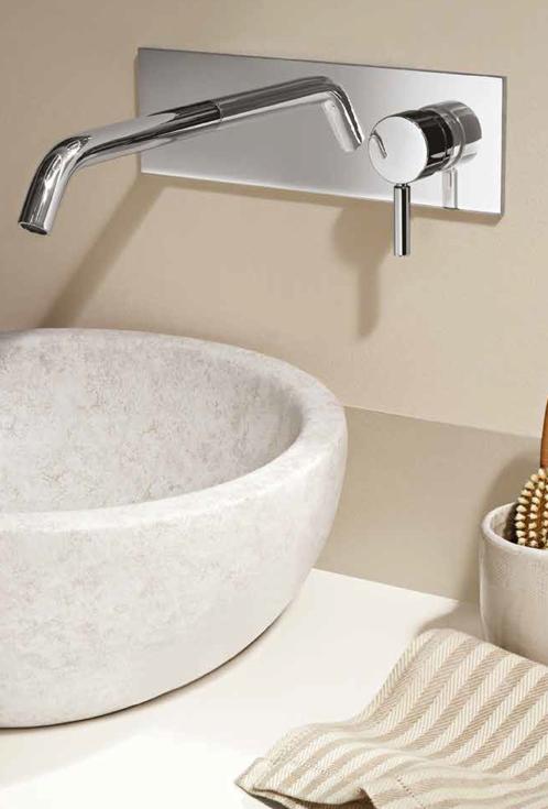 Serie Nostromo - miscelatore per lavabo a parete con bocca con maniglia