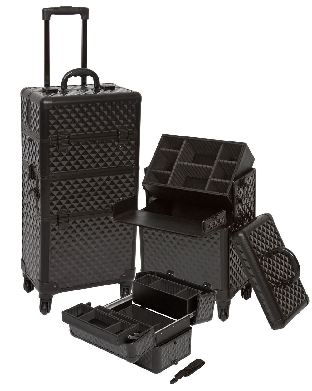 Pro Aluminum Makeup Case Black Diamond 4 Wheeled Spinner