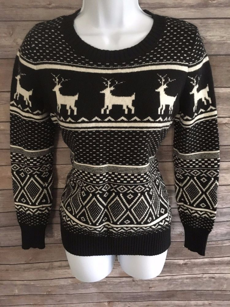 Old Navy Womens Christmas Sweater Size Extra Small Xs Black And