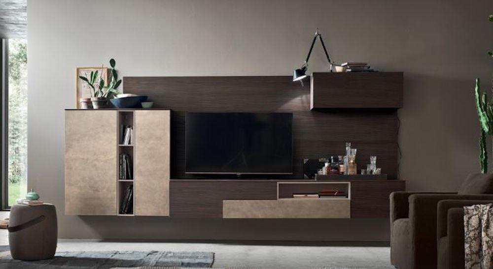 Soggiorno moderno a parete attrezzata tv a torino nel canavese