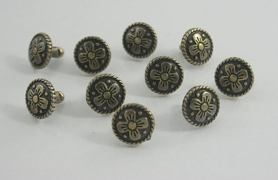 Sunflower Shank Buttons Silver Metal Back Hole Floral Sewing Button 17mm 10pcs