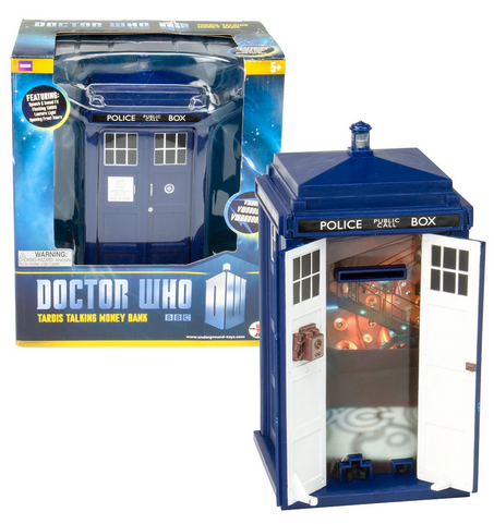 Great gift idea! Doctor Who Tardis Money Bank - Doors Open and Close - Lights and Sounds - Bigger on the Inside - A Thrifty Mom