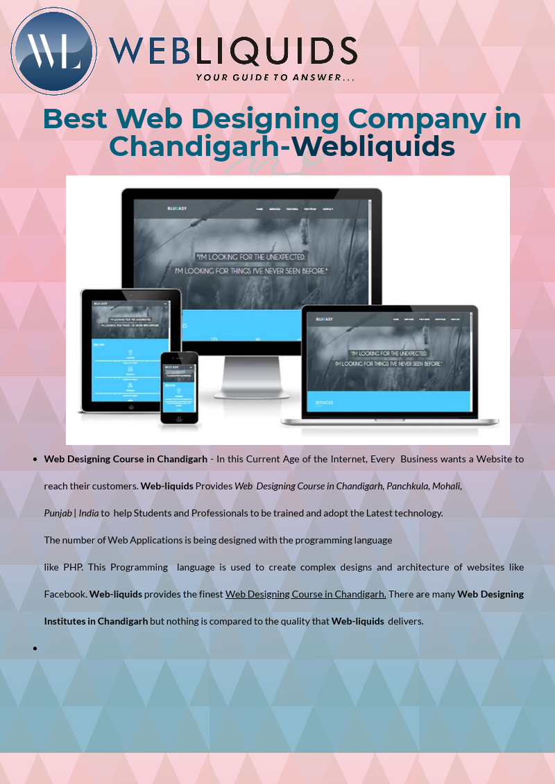 Web Designing Training Chandigarh Iso Certified Institute Provide The Best Training In Advanced Web Designin Web Design Course Web Design Marketing Courses