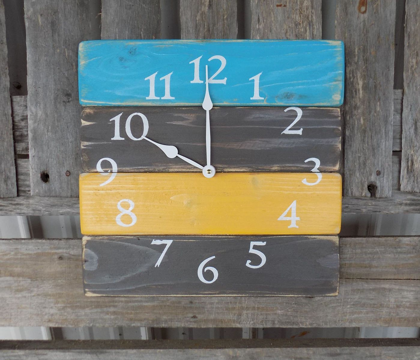 Turqoise Grey and Yellow Planked Pallet Clock | Pallet clock, Plank ...