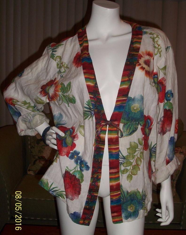 Chico's 100% Linen Blouse Jacket Women's Plus Size 3 Floral Multi Color #Chicos #BasicJacket