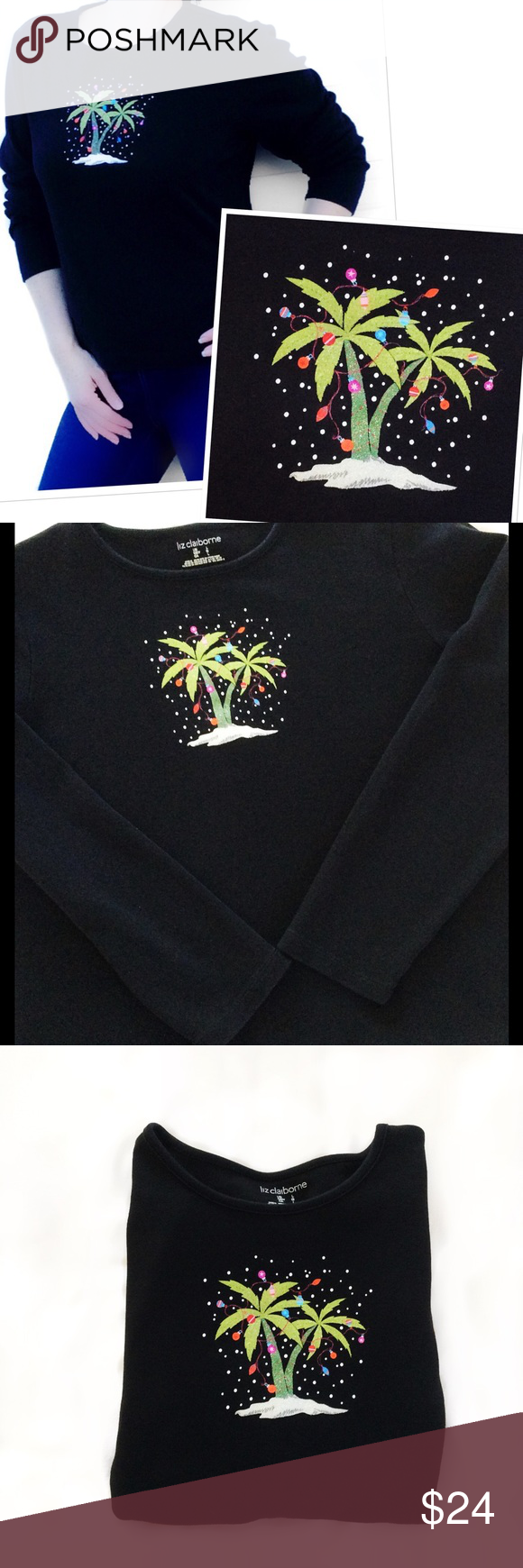 "Black Christmas Tee Palm Tree's w/lights This is darn cute & rather unique. Excellent pre-loved condition, really no signs of wear. Solid black 3/4 sleeve TShirt crew neck, with a fairly subtle but bright, colorful & tropical snowy Christmas theme. Super Duper soft. Labeled sz L, I agree. 42"" Bust. 23"" Length.  combed Cotton, stretchy. Bundle to get a fantastic discount on 2+ pieces. Liz Claiborne Tops Tees - Long Sleeve"