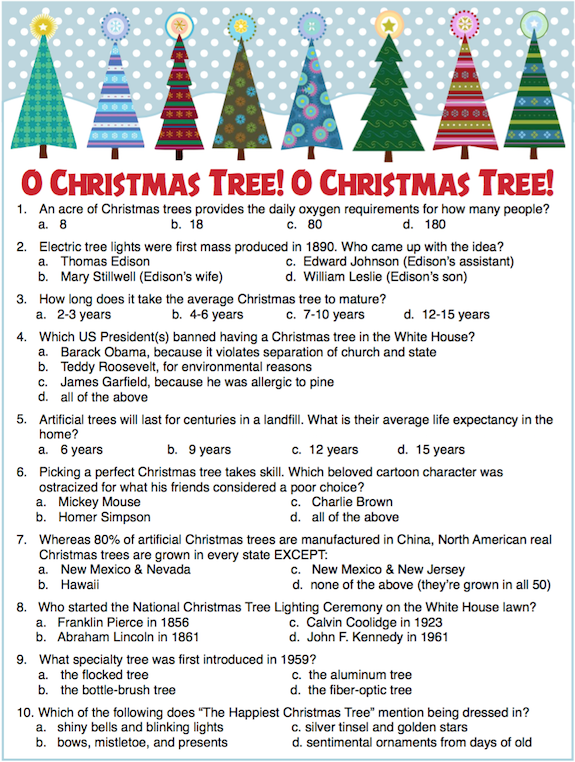Christmas Tree Trivia party game -- plus lots more free ...