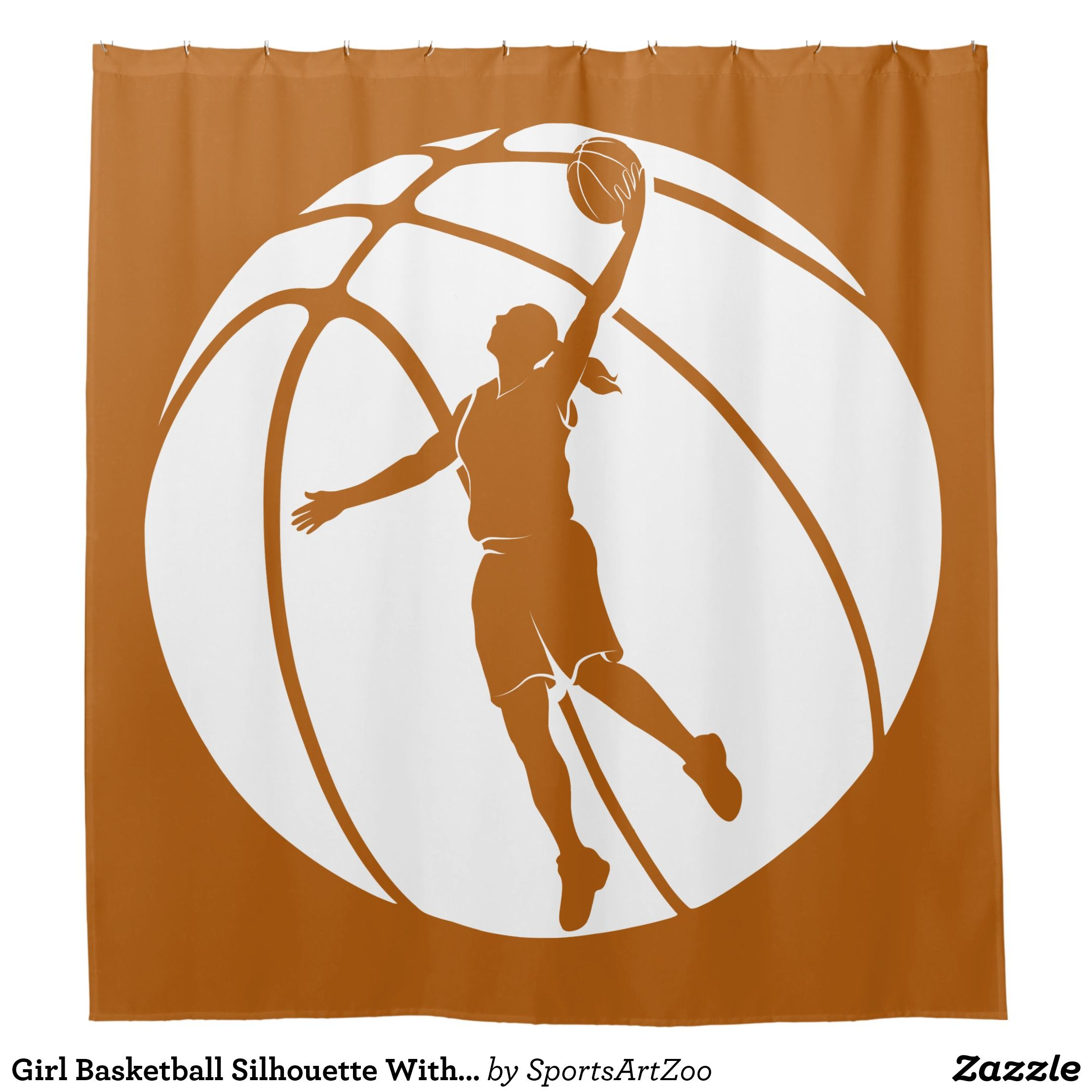 Girl Basketball Silhouette With Ball Shower Curtain Zazzle Com