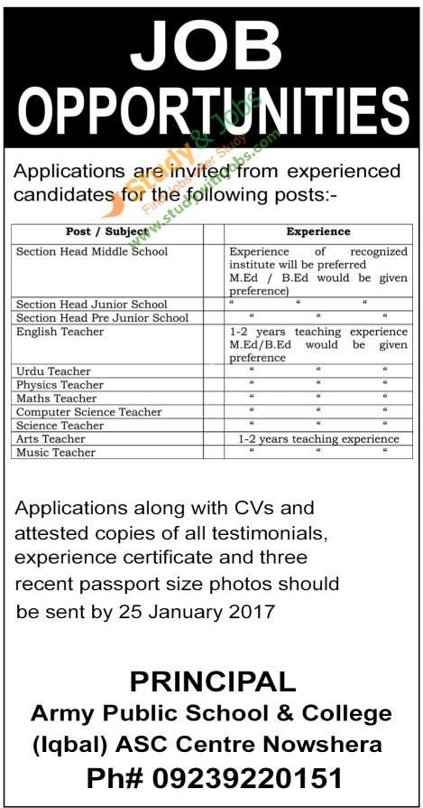 Army Public School  College Vacancies Rd January   Jobs In