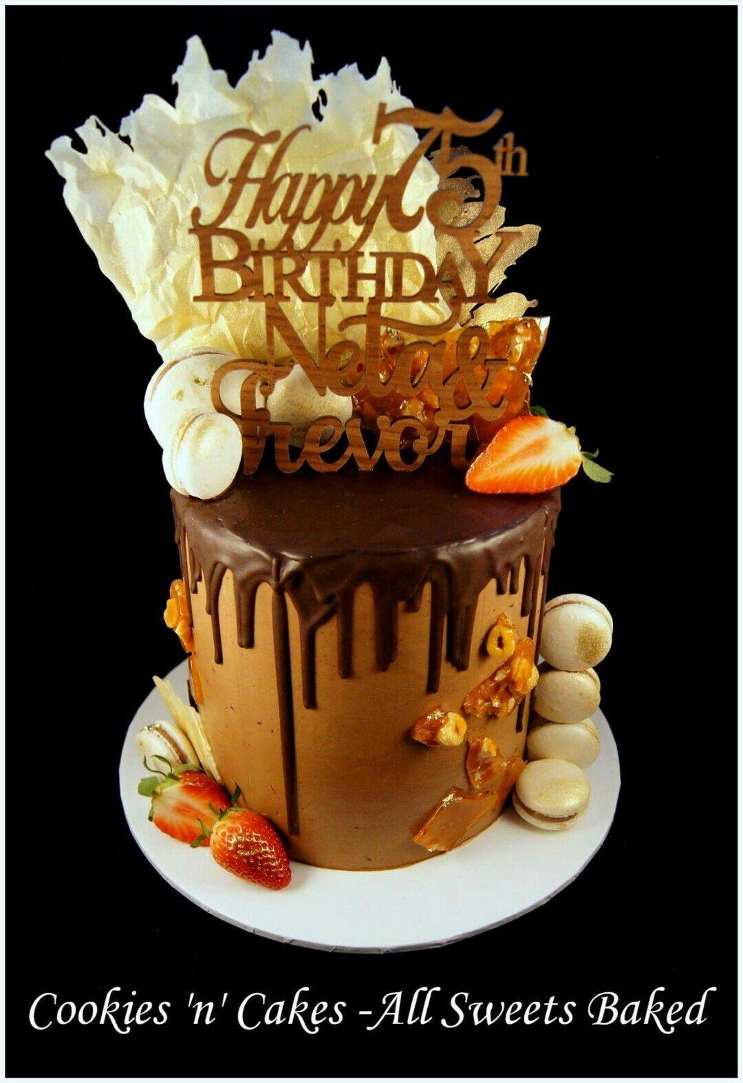 57th birthday drip cake chocolate shards macarons hazelnut