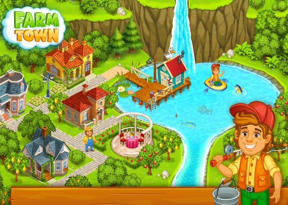 Farm Town Happy Village Near Small City and Town Money