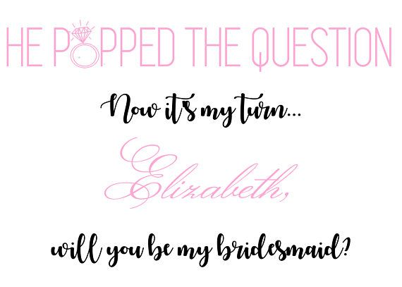 Party Proposal He Popped The Question Bridesmaid Card Bridesmaid Proposal  Wedding .
